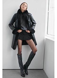 Noella Celine Foxlu Deri Kaban Siyah